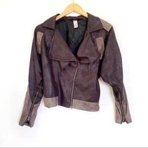 Vintage 2B.Rych Suede Two-Tone Moto Style Jacket